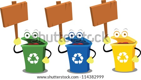three funny recycling bins holding some wooden signs - stock vector