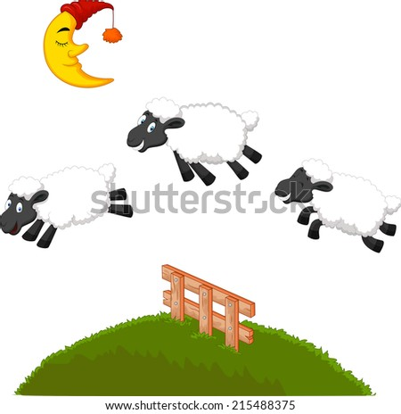 Three Funny Sheep Jumping Over A Fence - stock vector
