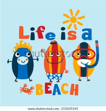 Three funny surf boards graphic. Vector illustration - stock vector