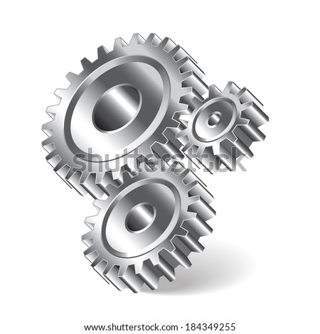 Three gear wheels isolated photo-realistic vector illustration - stock vector