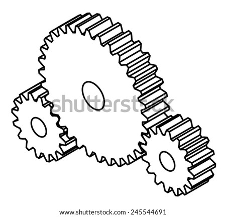 Three gears. - stock vector