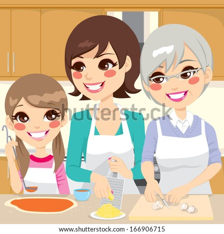 Three generation family preparing a delicious homemade pizza happy together in house kitchen - stock vector