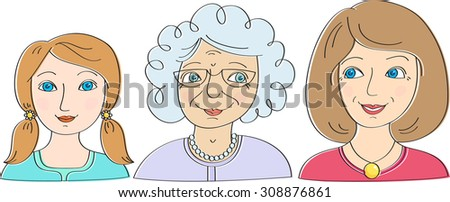 Three generations of women. The granddaughter, mother and grandmother  - stock vector