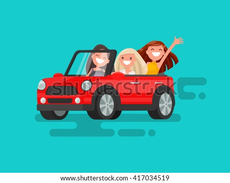 Three girlfriends are riding to a gig. Vector illustration - stock vector