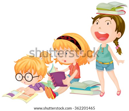 Three girls enjoy reading books illustration - stock vector