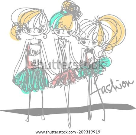 three girls fashion show cartoon look vector file set (with big eye set) - stock vector