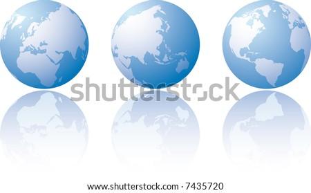 Three globe world views with reflection - stock vector