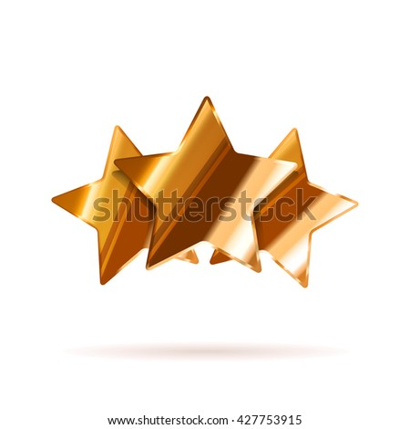 Three glossy bronze rating stars with shadow isolated on white - stock vector