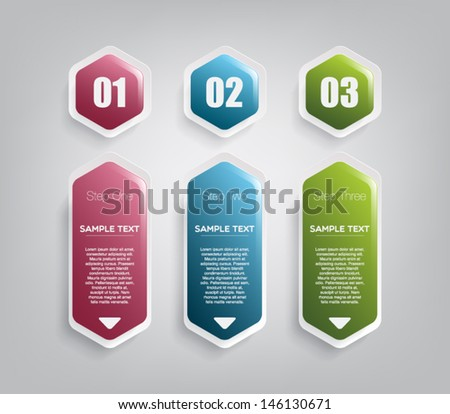 Three glossy plastic banners for infographics, business design, step presentation, number options, progress design or workflow layout. Clean and modern style with hexagons