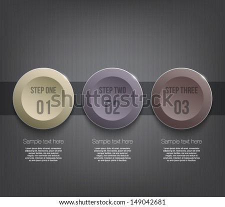Three glossy plastic banners template over dark pattern background for business design, infographics, reports, progress, number options, step presentation or workflow layout. Clean and modern style - stock vector