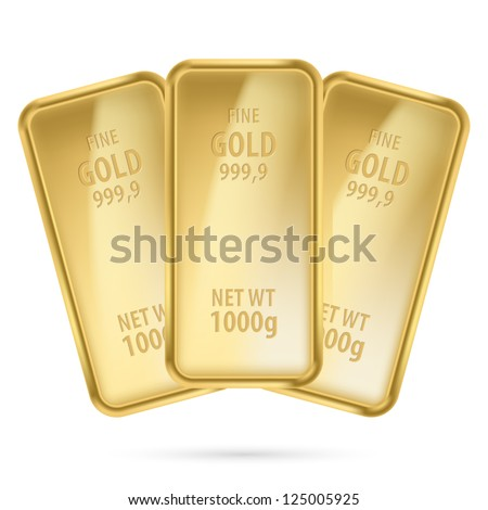 Three gold bars.  Illustration on white background - stock vector