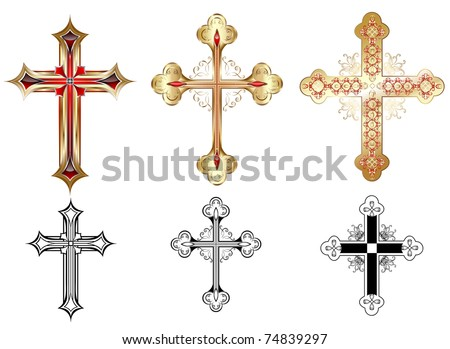 three gold cross decorated with red pattern and black silhouettes of the cross on a white background.