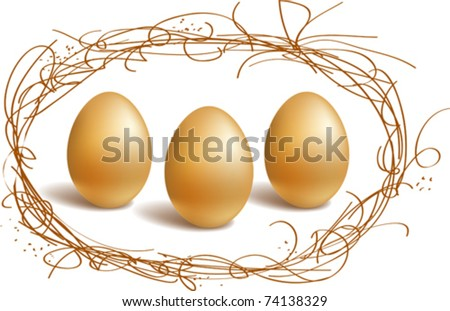 Three gold eggs in the nest frame