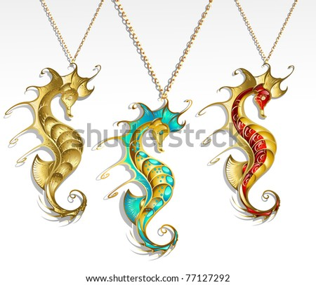 three gold jewelry inlaid seahorse turquoise and red paint with a shiny gold chain - stock vector
