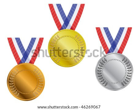 Three gold, silver and bronze award medals with ribbon - stock vector