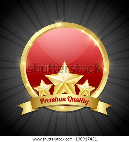 Three golden stars symbol with Premium quality ribbon and glossy plaque in the background