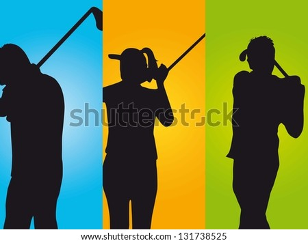 three golfers over colorful  background. vector illustration - stock vector