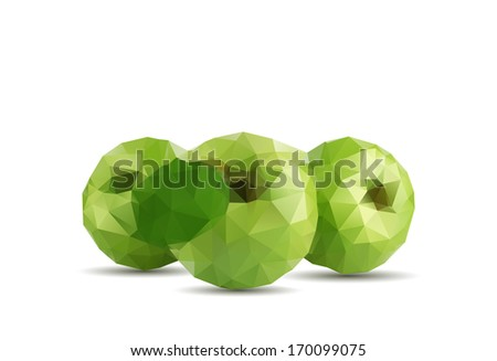 Three green apple - stock vector