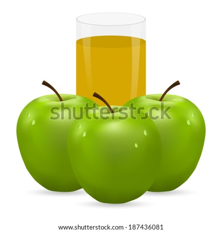 three green apples and glass of juice - stock vector