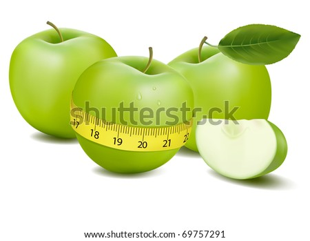 Three green apples measured the meter. Vector.