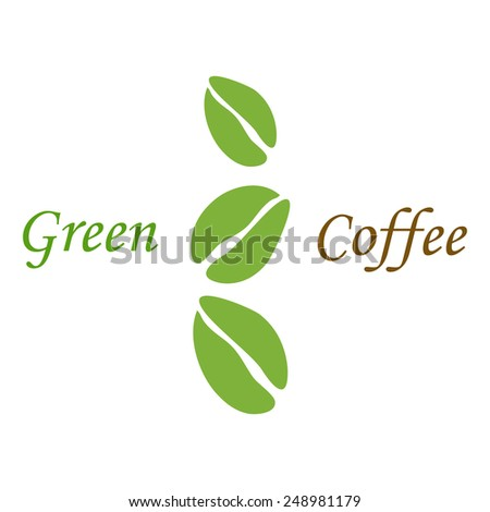 Three green coffee beans on white background - stock vector