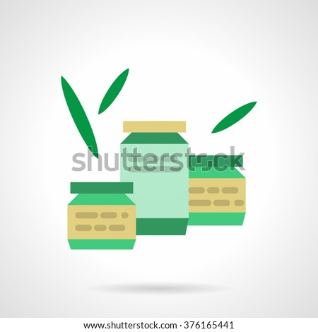 Three green color jars with lid and label, green leaves around. Organic food. Eco food. Baby nutrition. Vector icon flat color style. Web design element for site, mobile and business. - stock vector