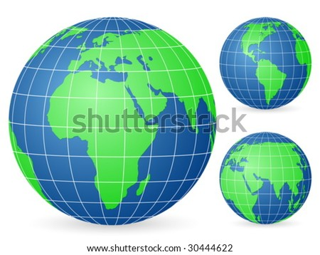 Three green planet set on a white background. Vector illustration.