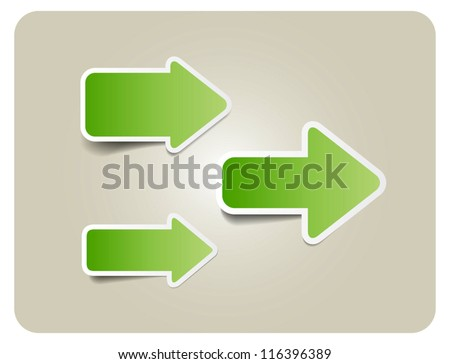 Three green vector paper arrow stickers with shadows - stock vector