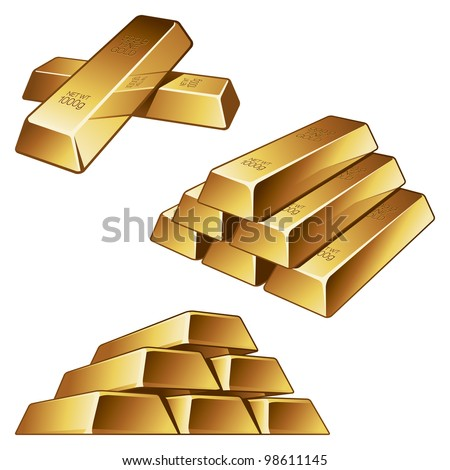 Three Groups of Gold Bars on White Background. Vector Illustration - stock vector