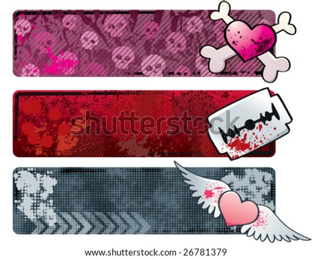 Three grungy emo banners. CMYK vector illustration, with global colors. - stock vector
