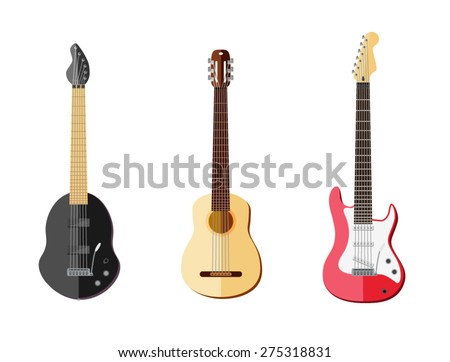 Three guitar flat vector style. Classic acoustic, and two type of electro guitar. Can be scaled. - stock vector
