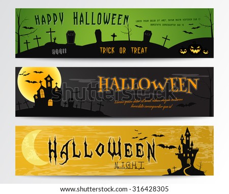 Three Halloween banners. Green, dark and orange designs. Can be use on web, print. As invitation, flyer card, halloween  poster etc. Nice design for celebration halloween. Vector illustration - stock vector
