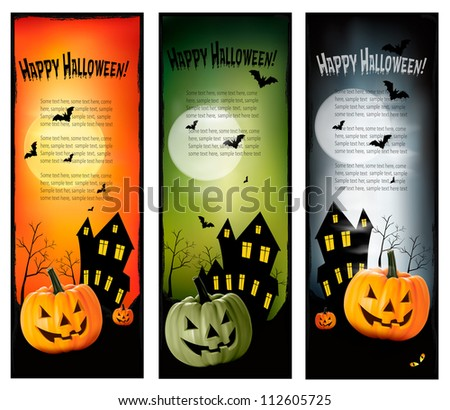 Three Halloween banners. Vector. - stock vector