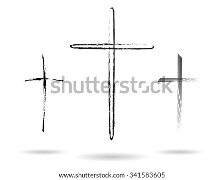 Three hand-drawn black crosses shapes, Christian crosses black silhouettes collection isolated over white background, latin cross set vector illustration - stock vector