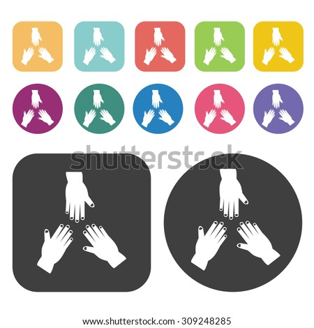 Three hands icons set. Vector Illustration eps10 - stock vector