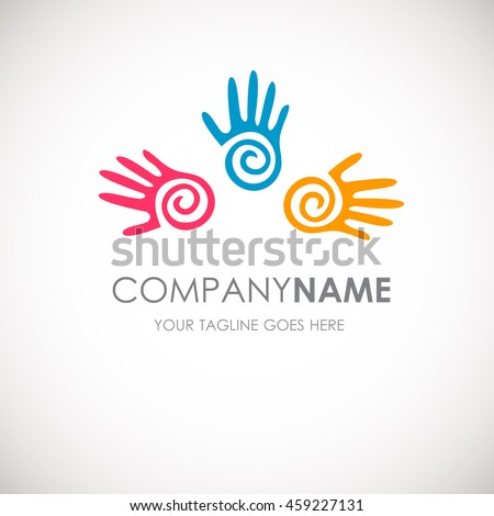Three hands vector logo template. Teamwork concept. Web concept. Vector illustration. Red, Blue and yellow abstract hand prints.