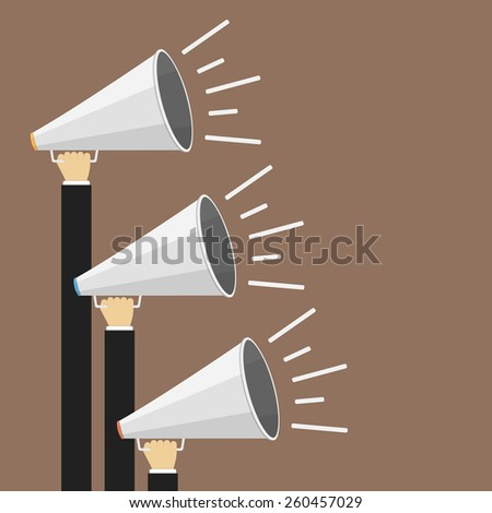 Three hands with megaphones, promotion concept, vector eps10 illustration - stock vector