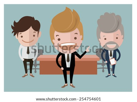 Three handsome investor in office,business and finance concept - stock vector
