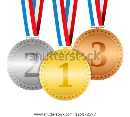 Three hanging medals, vector eps10 illustration