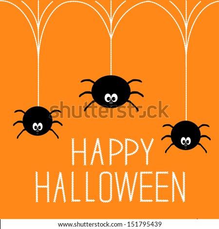 Three hanging spiders. Happy Halloween card. Vector illustration. - stock vector