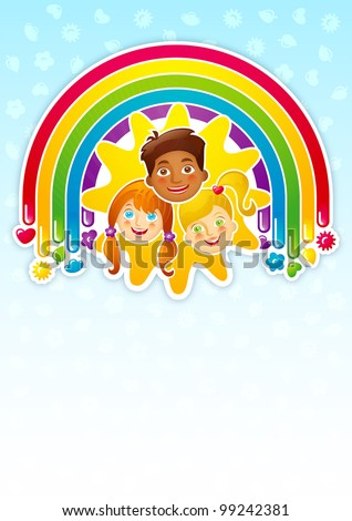 Three happy babys in a rainbow and the sun - template - stock vector