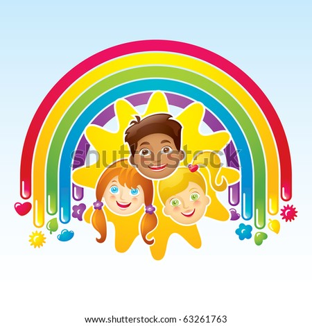 Three happy children in a rainbow and the sun - stock vector
