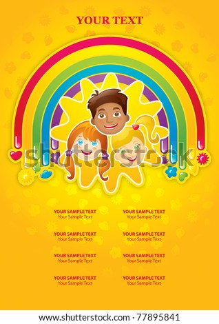 Three happy children in a rainbow and the sun - template - stock vector