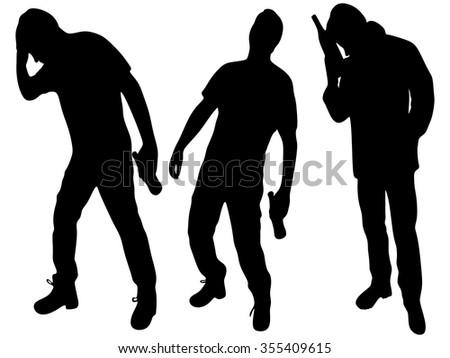 Three happy drunken men  - stock vector