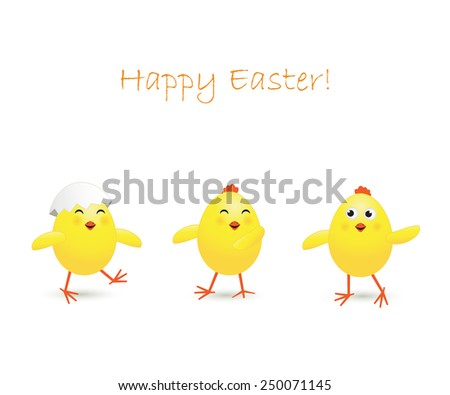 Three happy Easter chicken on white background, illustration - stock vector