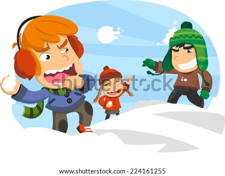 Three happy kids in a snowball fight, during a winter snowy snow day. Vector illustration cartoon. - stock vector
