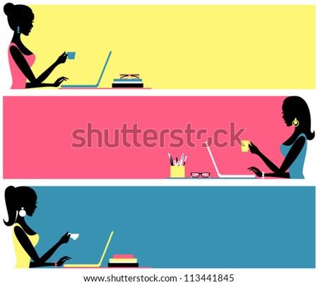 Three header designs for female blogs. - stock vector