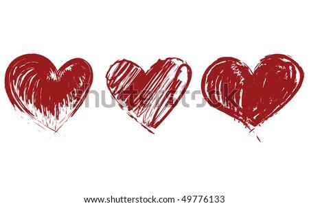 Three Hearts Vector. Hearts Icon Vector. Hearts Drawing. Red Hearts. Abstract Hearts. Valentine Heart. Grunge Heart. Valentine's Day Hearts. Brush Stroke Hearts. Heart Texture. Heart Shape. - stock vector