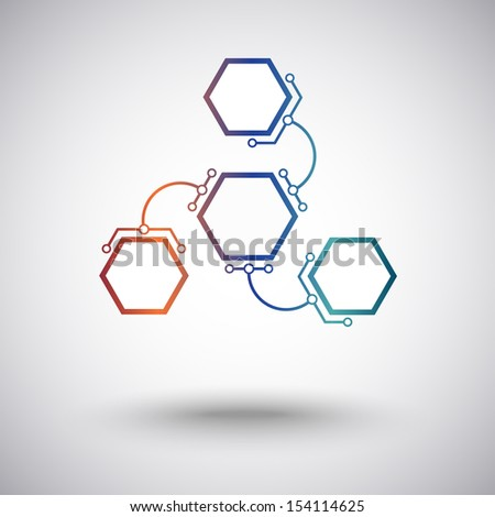 three hexagonal cells are connected to the main unit of the arc-shaped links - stock vector