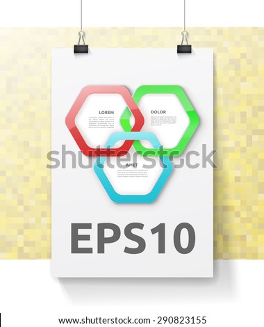 Three Hexagonal Rings Composition Symbol on An A4 Mock Up Paper with a Yellow Mosaic Random Tiled Wallpaper. Adjustable Eps10 Illustration - stock vector